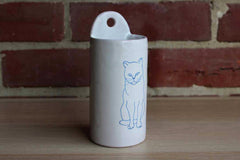 Ceramic Mountable Storage Container with Drawing of a Cat