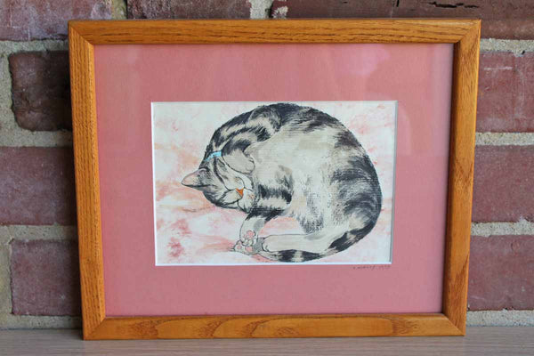 Hand Watercolored Pen & Ink Print of a Sleeping Cat by L. Mailly, 1990