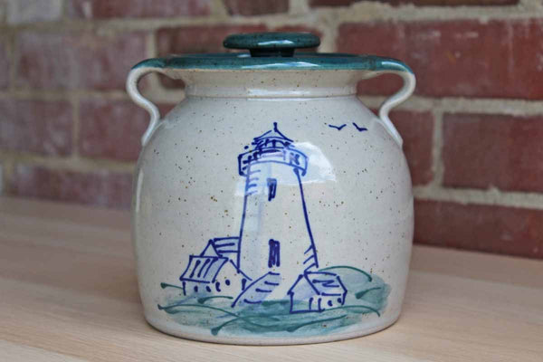 Great Bay Pottery (New Hampshire, USA) Handmade Stoneware Beanpot Decorated with a Lighthouse