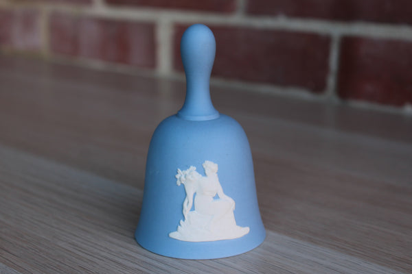 Wedgwood (England) Blue Jasperware Ringing Bell with Woman Holding Flowers