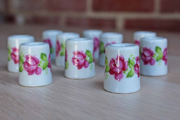 Miniature Ceramic Candle Holders handpainted with Pink Roses, Made in Germany, 10 Pieces