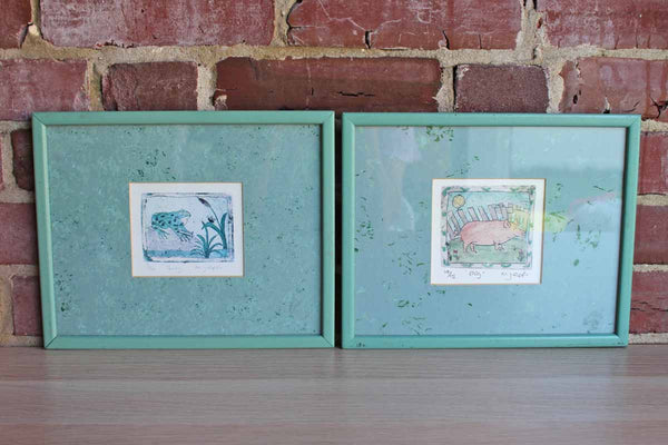 Limited Edition Giclee Prints of a Pig and a Frog by M.J. Epps