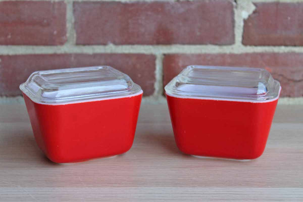 Corning Inc. (New York, USA) Pyrex Red Glass Refrigerator Dishes with Lids, A Pair