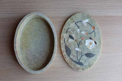 Carved Soapstone with Mother of Pearl Inlay Trinket Box