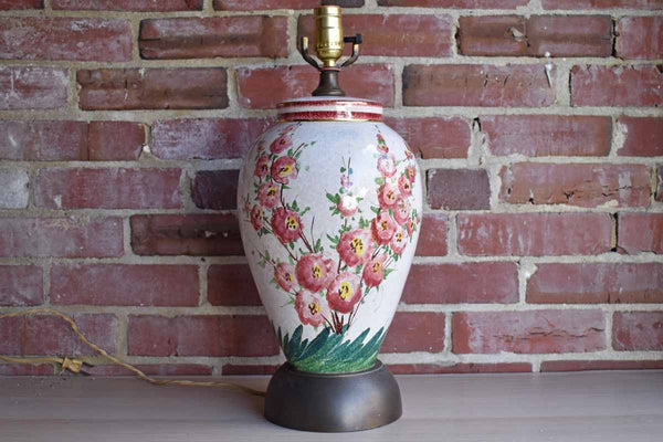 Ceramic Urn-Shaped Table Lamp with Hand-Painted Flowers