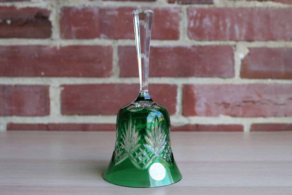 Crystal Clear (Hungary) 24% Lead Crystal Bell with Etched Diamond and Flower Shaped over Green Glass