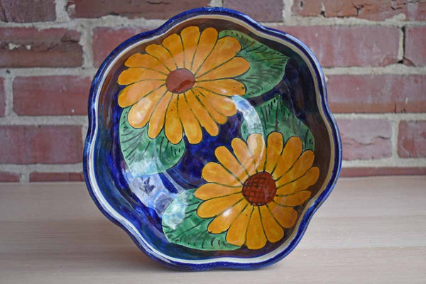 Onofre (Mexico) Ceramic Bowl Hand-Painted with Yellow Flowers