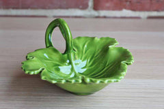 Glossy Green Leaf Shaped Handled Bowl