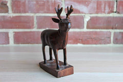 Solid Carved Wood 8-Point Buck Figurine