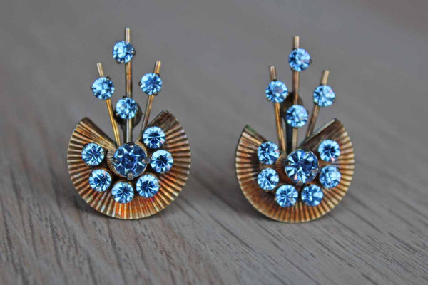 Gold Tone and Blue Rhinestone Art Deco Style Non-Pierced Clip-On Earrings