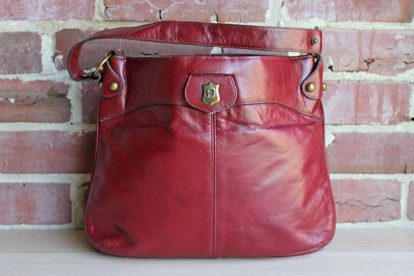 Etienne Aigner (New York, USA) Antic Red Leather Shoulder Handbag with Brass Hardware