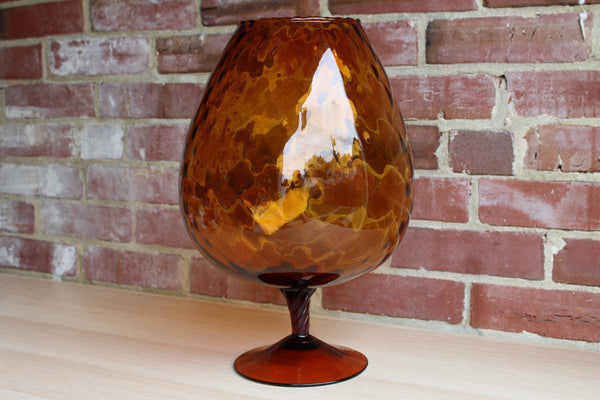 Empoli (Italy) Huge Amber Glass Fishbowl Vase with Diamond Optic Pattern and Twisted Stem Base