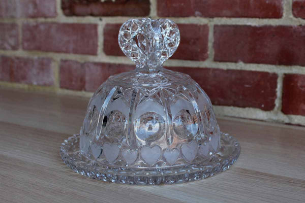 Ornate Pressed Glass Cloche with Frosted Hearts