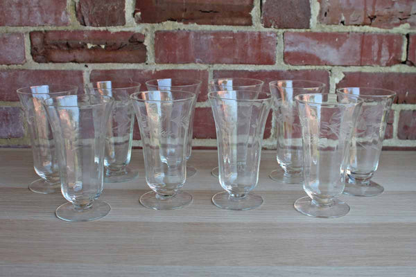 Clear Floral Etched Drinking Glasses with Paneled Sides and Footed Base, Set of 10