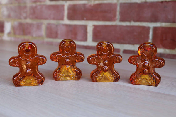 Glass Gingerbread Cookie Candlesticks, Set of 4