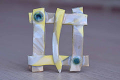Handmade Ceramic Brooch with Primitive Weaved Pattern