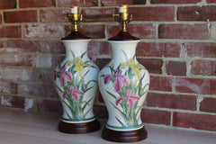 Ceramic Urn-Shaped Lamps Decorated with Gladiola Flowers, A Pair (No Lampshades)