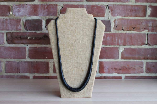 Black Wood Disc Bead Necklace