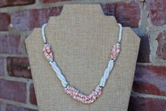 Natural Pink and White Beaded Shell Necklace with Brass Bead Accents