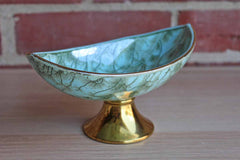 Delft (Holland) Handpainted Turquoise and Gold Brass Pedestal Dish
