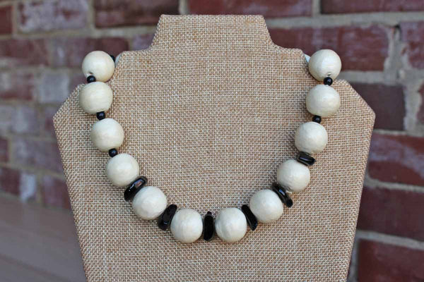 Black Plastic and White Paper Bead Necklace