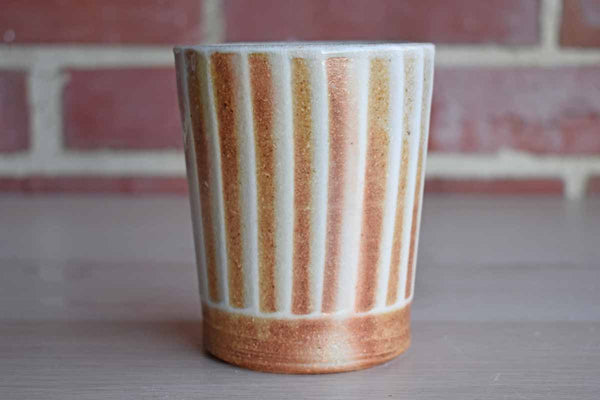 Handmade Stoneware Cup with Vertical White Stripes