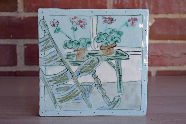 1993 Ceramic Tile Hand-Painted with Flowers and a Rocking Chair