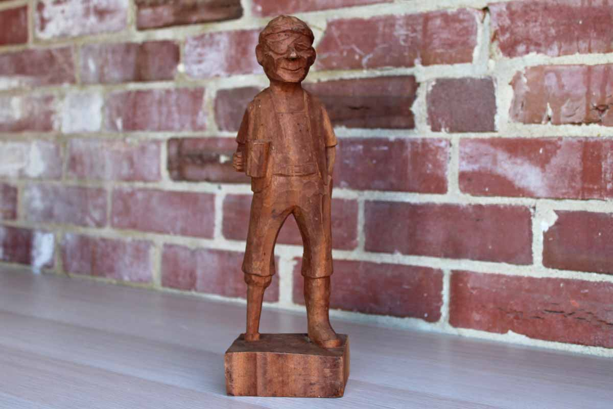 Carved Wood Fisherman with an Eye Patch and a Peg Leg
