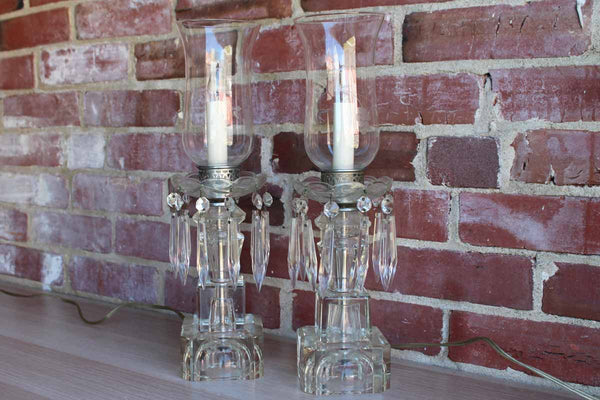 Electric Crystal Boudoir, Table, or Mantle Lamps with Bobeche Crystals and Spear Prisms
