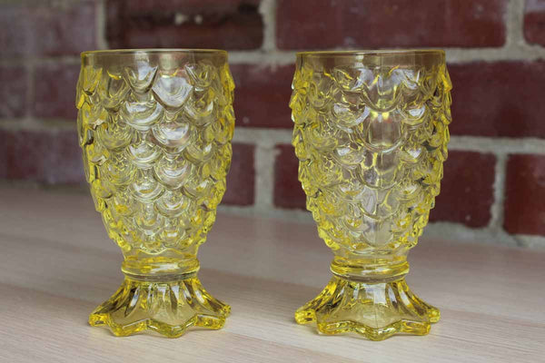 Bright Yellow Pressed Glass Vases, A Pair