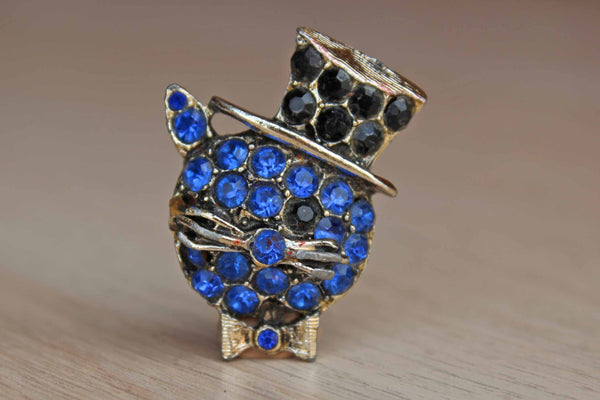 Rhinestone Cat Wearing a Top Hat Brooch