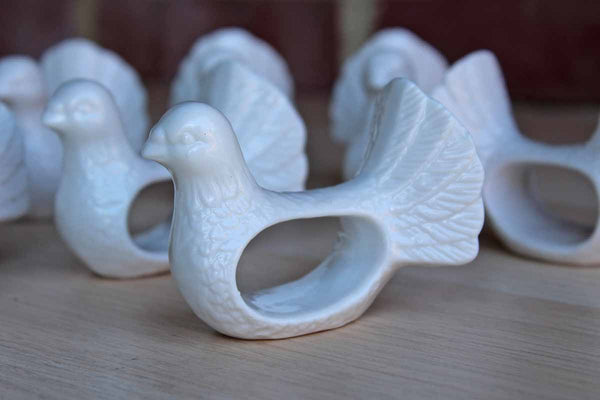 Shafford (Taiwan) White Porcelain Turket Napkin Rings, 8 Pieces