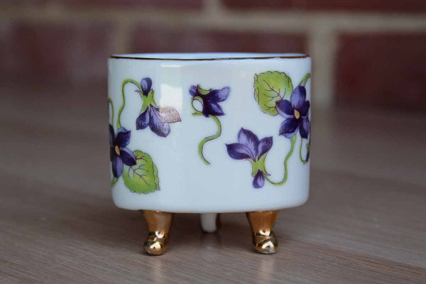 Lefton's China (Japan) Little Porcelain Footed Dish Decorated with Purple Flowers