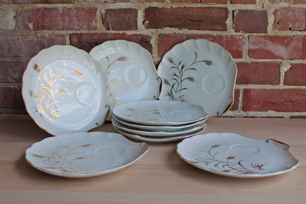 "Lefton China (USA) Porcelain ""Wheat"" Snack Plates (No Cups Included)"