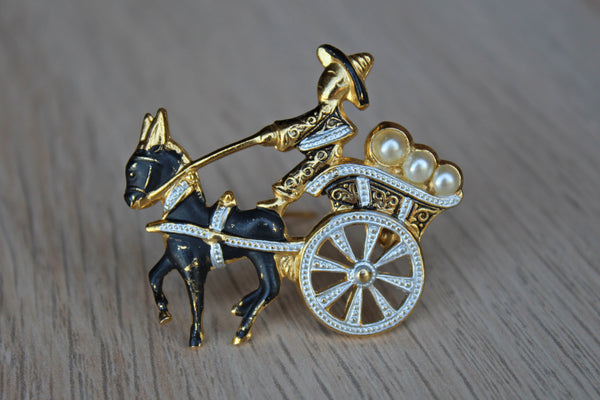 Brooch Decorated with a Cart and Driver, Made in Spain
