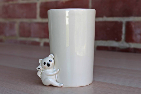 Little Ceramic Cup with Applied Mama and Baby Koala Bears