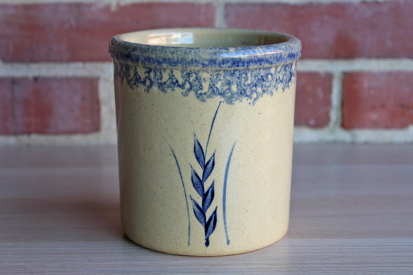 Robinson Ransbottom Pottery (Ohio, USA) 1 Quart Stoneware High Jar Stenciled with a Wheat Stalk