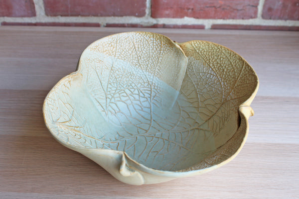Large Stoneware Bowl with Impressed Leaf Designs