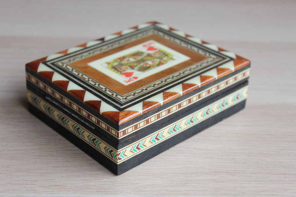Casa De La Artesans Taracea Salinas (Spain) Wood Inlay Marquetry Playing Card Box with Hinged Lid