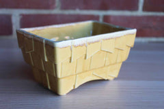 Cookson Pottery (USA) Gold Deco Style Planter with Lighter Yellow Drip Edge