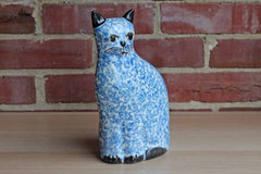 N.S. Gustin (California, USA) Blue Speckled Cat Statue