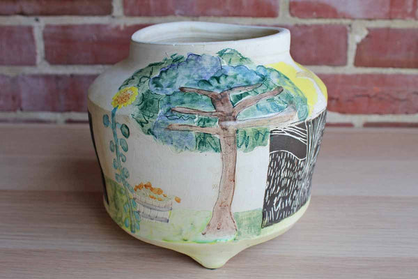 Handmade Ceramic Cachepot Decorated with Colorful Primitive Nature Designs