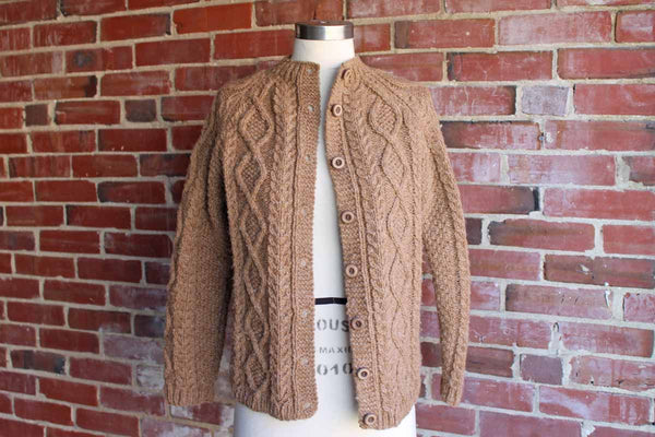 Handmade Brown Wool Cable Knit Sweather with Wood Buttons
