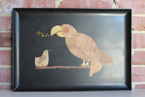 Couroc (California, USA) Blck Phenolic Serving Tray with Wood Inlaid Birds