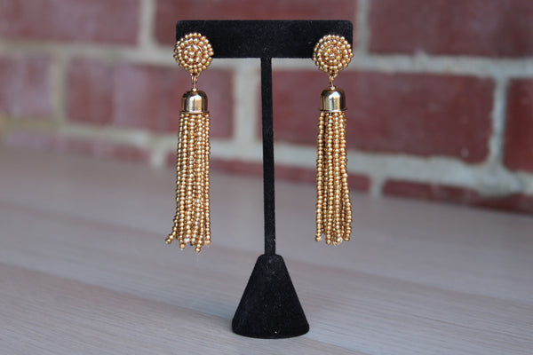 Core Jewelry (New York, USA) Gold Bead Tassel Pierced Earrings