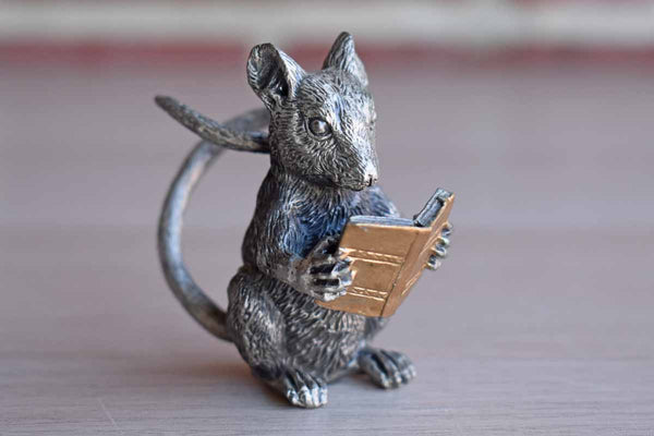 Solid Pewter Mouse Reading a Book Figurine