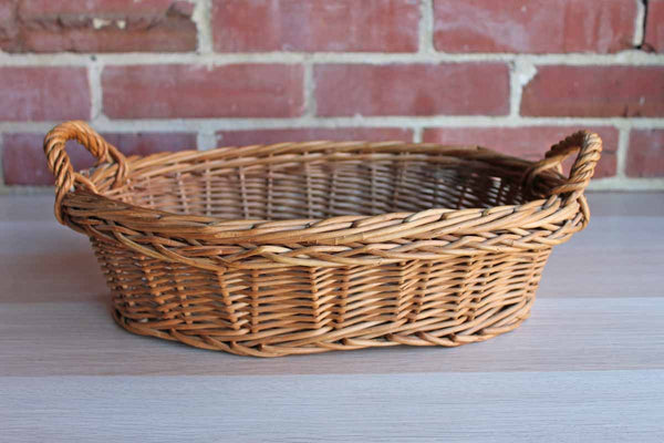 Hand Woven Shallow Basket with Loop Handles
