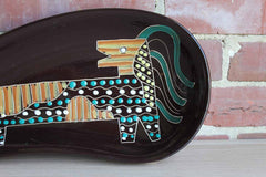 Large Bean-Shaped Glossy Brown Dish with Hand-Painted Abstract Lion Design