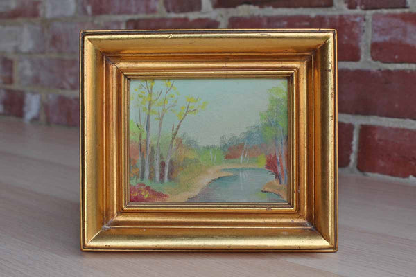 Original Framed Painting of a Simple Landscape Scene, Signed by Gertrude Patterson