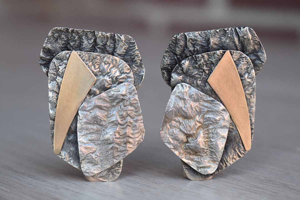 Hand-Hammered Silver and Gold Pierced Earrings Made in 1993